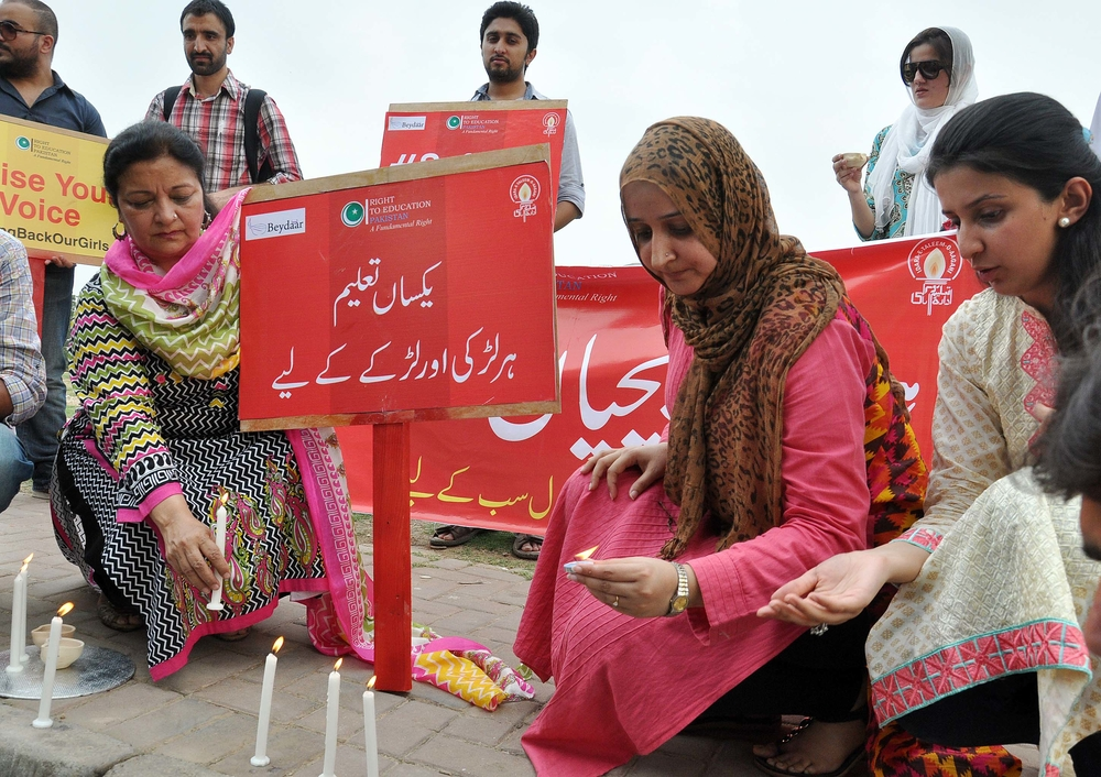 Civil society activists demonstrate in Islamabad last week for equal education for boys and girls