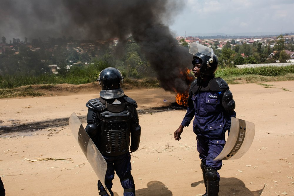 Photo of police in Bunia at protests