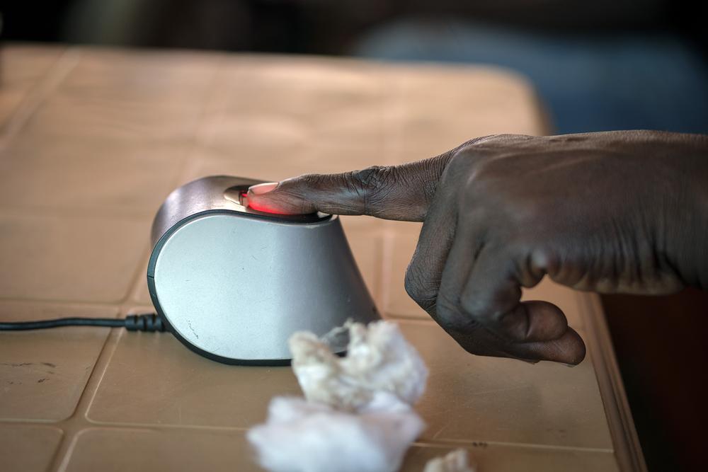 Closeup of a digital fingerprint being taken