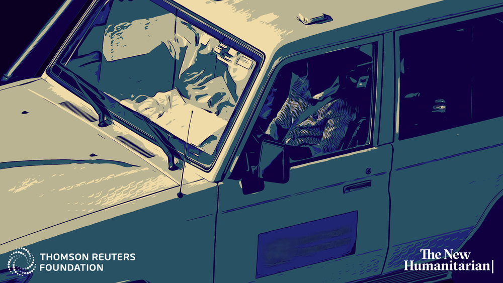 An artist's illustration based on a photo of a vehicle used during the Ebola outbreak in Congo
