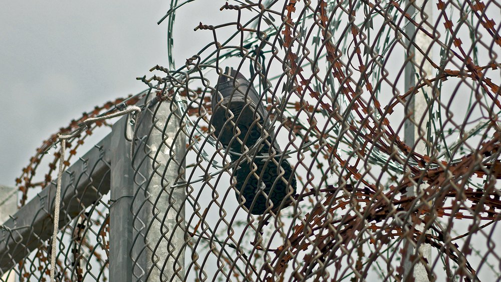 A shoe stuck in thick barbed wire