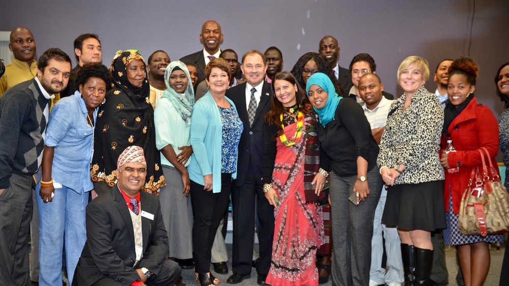 Utah governor Gary R. Herbert visits a refugee education centre