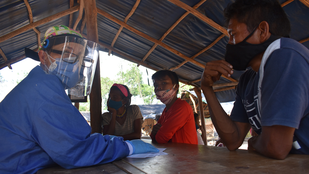 Members of the Indigenous Yukpa community are checked for COVID-19 symptoms near Cúcuta