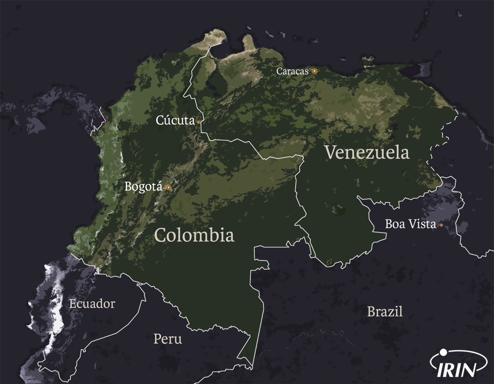 Venezuela and Colombia map featuring Cucuta