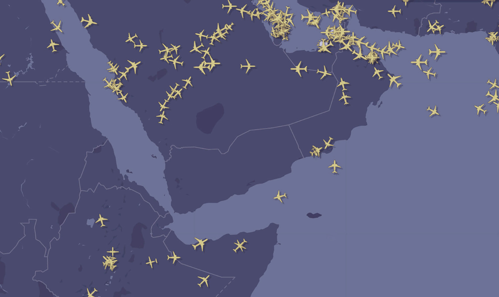 Flights around Yemen