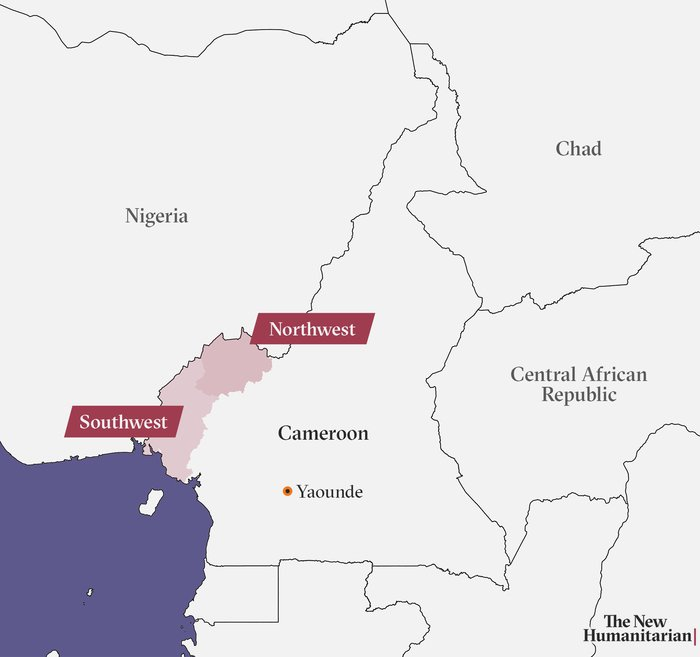 Map of Cameroon showing Northwest and Southwest regions