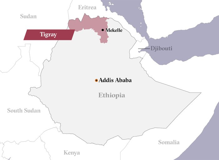 A map showing the Tigray region of Ethiopia