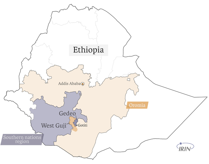 Map showing Ethiopia, Oromia, West Guji, Gedeo, Gotiti