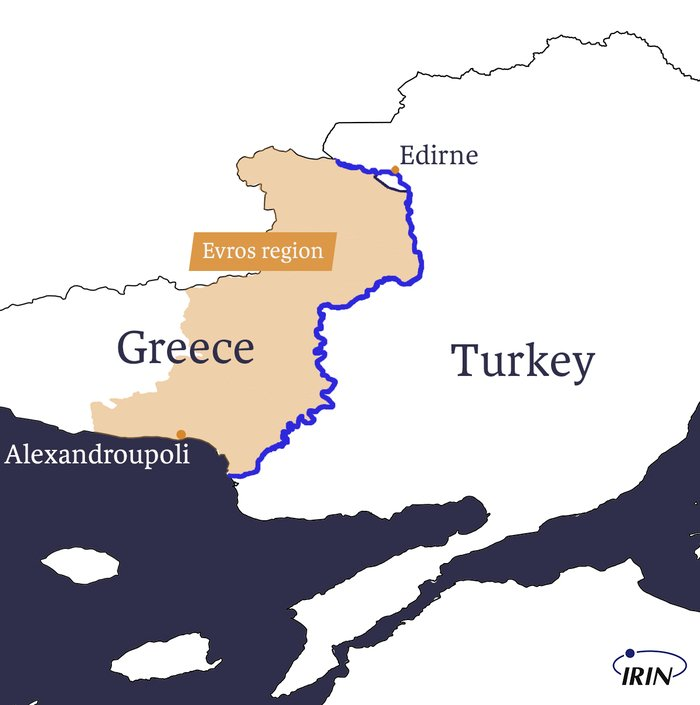 Map of border between Greece and Turkey showing Evros, Meric river, Edirne, and Alexandroupoli