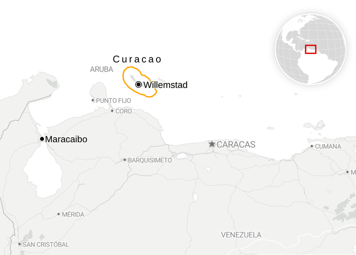 Map of northern Venezuela showing Willemstad and Curaçao