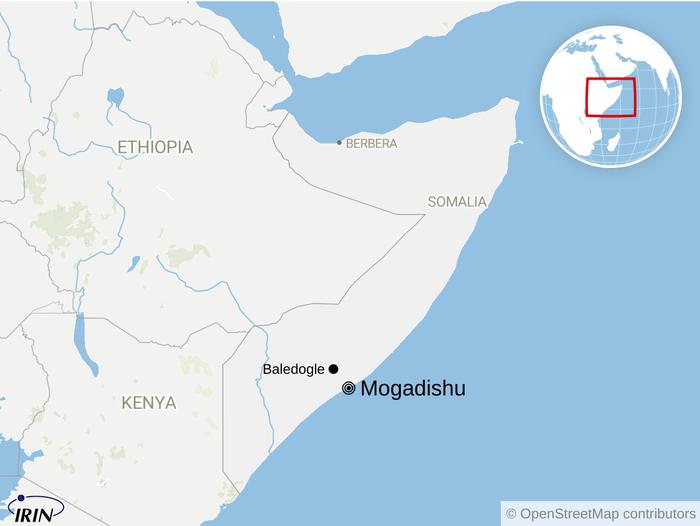 Map of Somalia showing Mogadishu and Baledogle