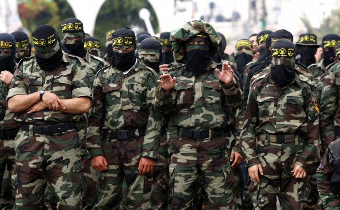 Islamic Jihad Militants pray during a Rally in Gaza city
