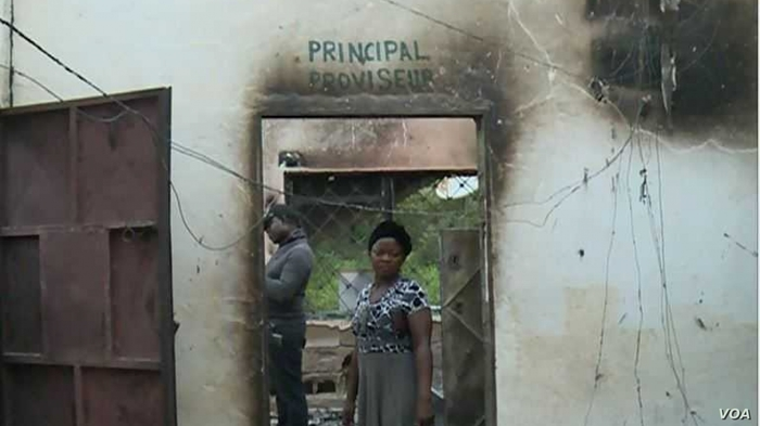 Photo of burned school in Cameroon