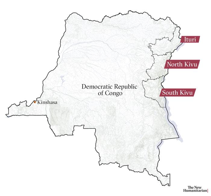 Map of Democratic Republic of Congo (DRC) including South Kivu, North Kivu, and Ituri