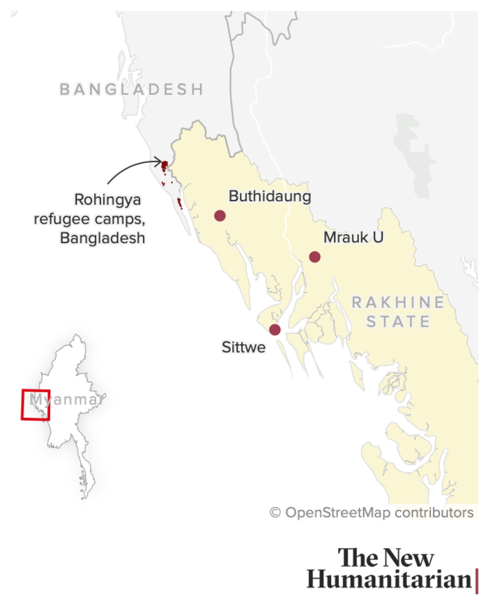 This map shows locations in Myanmar's Rakhine State, as well as the Rohingya refugee camps in neighbouring Bangladesh.