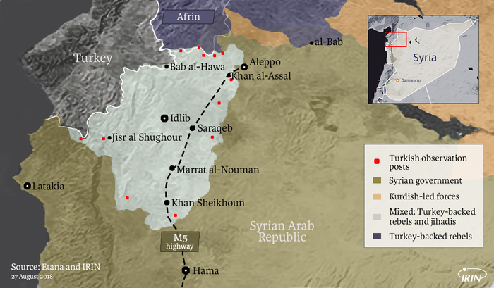 Map of northern Syria with Idlib, Aleppo, Hama, Latakia, and Afrin showing military situation as of 27 August 2018