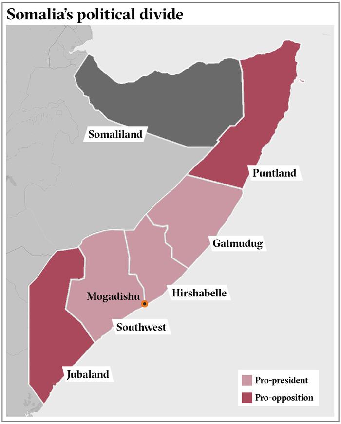 Map of Somalia's political jurisdictions.