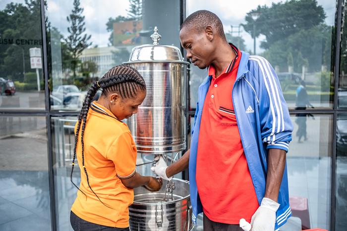 Handwashing stations in Arusha