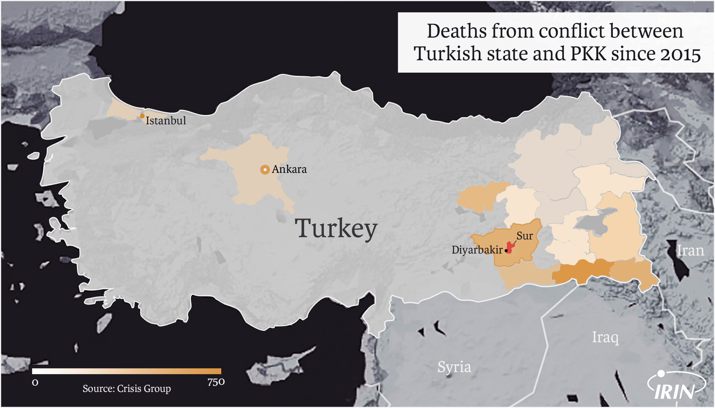 Map of Turkey showing Diyarbakir and casualties between PKK and Turkish state.