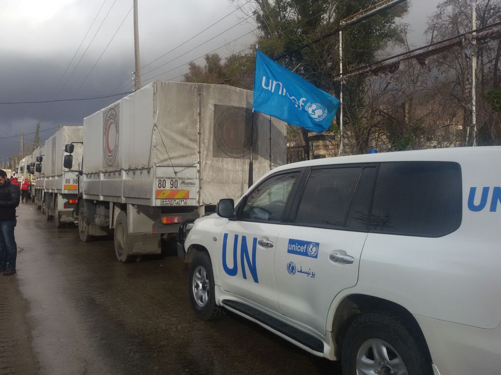 UN vehicles delivering supplies