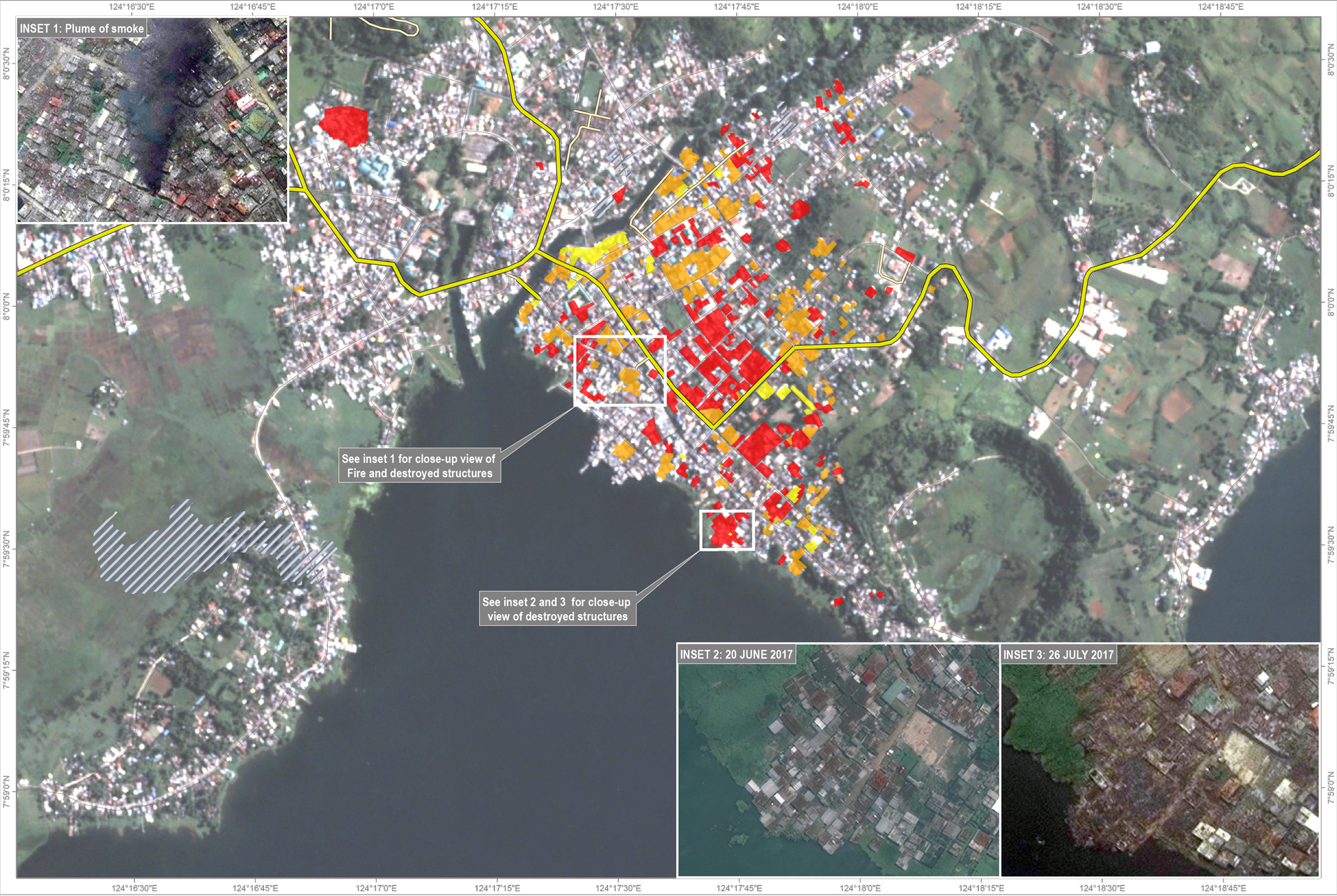 Map of damages in Marawi