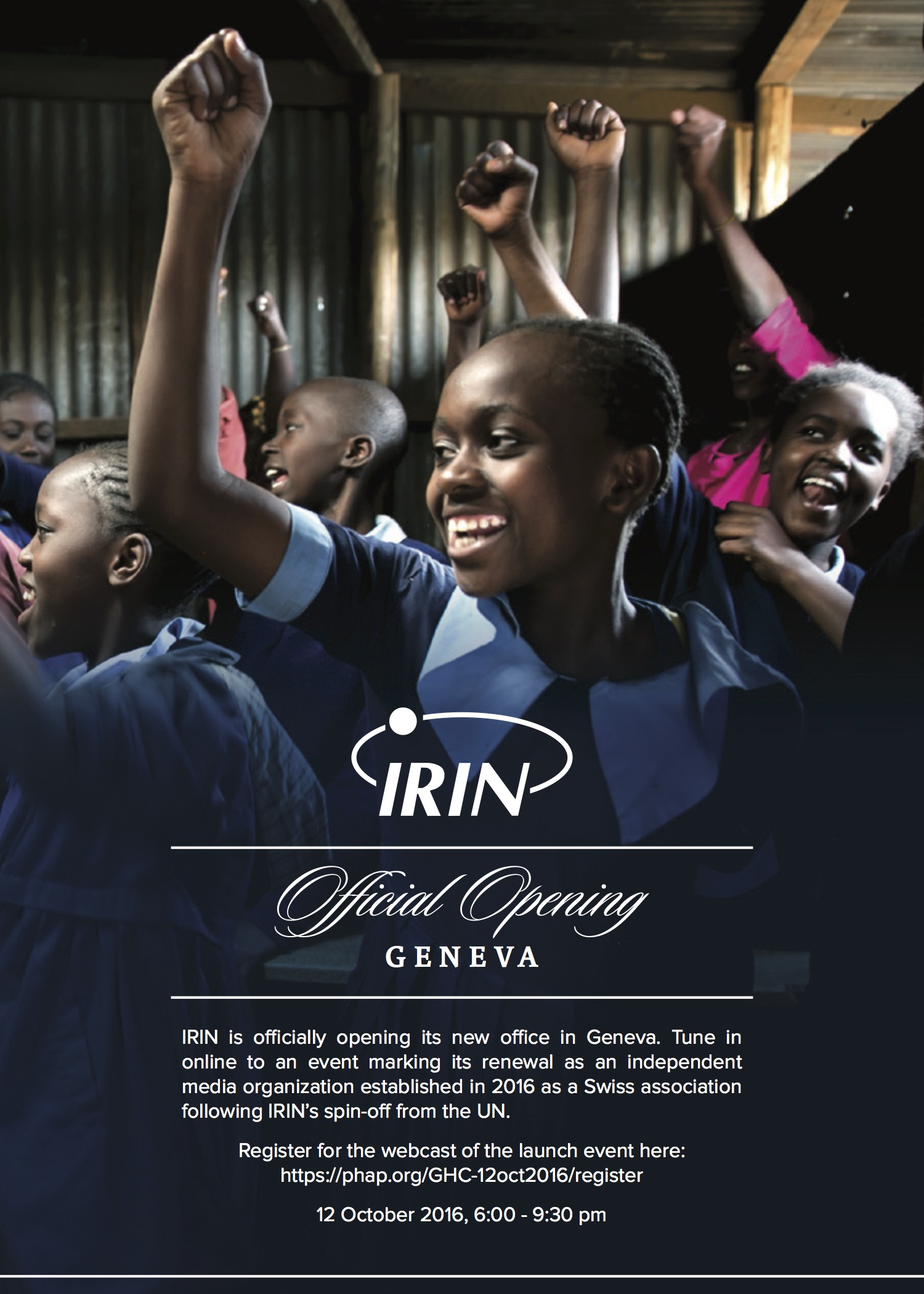 IRIN launch event flyer