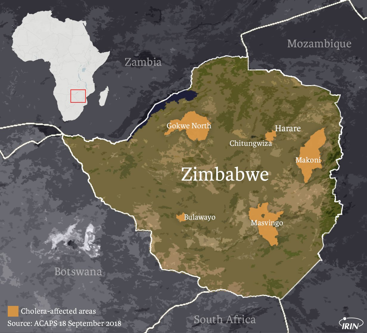 Map of cholera outbreaks in Zimbabwe September 2018.