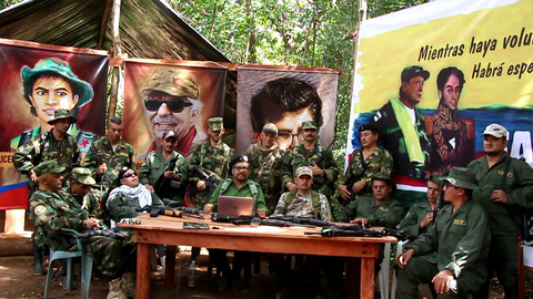 Former senior commanders of FARC, including Iván Márquez (centre), taken from video released 4 September 2019.