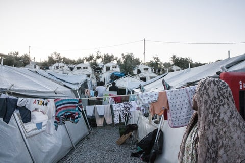 The camp made of tents outside Moria Camp where thousands of refugees live with fewer services like electricity or sanitation and without security protection.