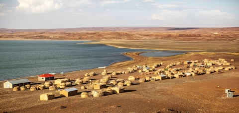 A settlement on the shore of lake Turkana