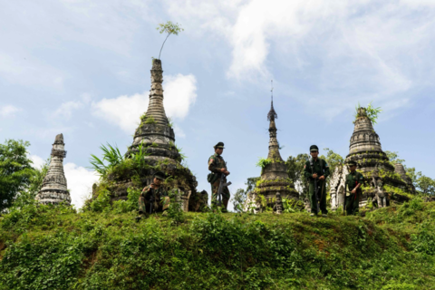 Soldiers with the Ta'ang National Liberation Army in Tosan village, Shan State
