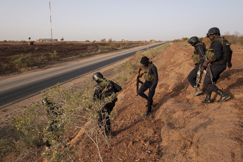 Photo of armed police on patrol in Niger near Burkina Faso