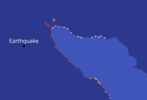 A map of wave heights after an earthquake