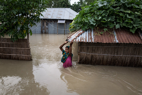 Photo of submerged yard in Bangladesh flood.