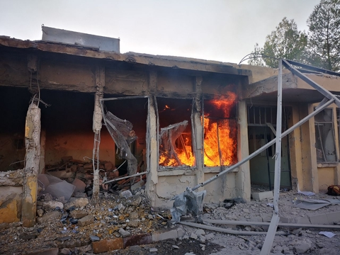Al-Zerbeh Primary Health Center in southern Aleppo after an airstrike on 30 August 2019.