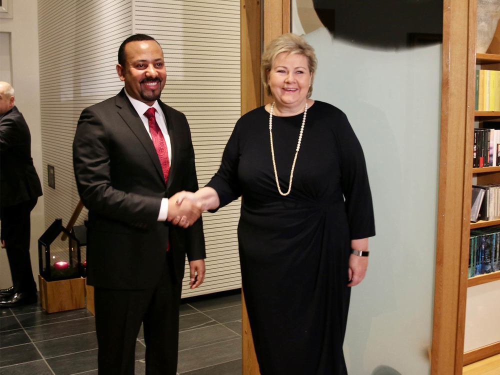 Ethiopian Prime Minister Abiy Ahmed meets Norwegian counterpart Erna Solberg after receiving the 2019 Nobel Peace Prize in Oslo.