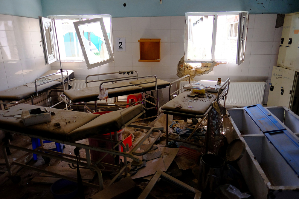 Empty beds sit in a hospital run by Médecins Sans Frontières in Afghanistan's Kunduz Province, months after a US airstrike killed staff members and patients in October 2015.