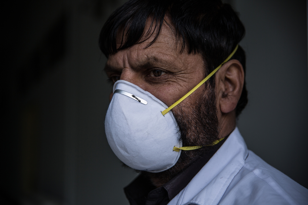 A doctor wears a face mask at the Afghan-Japan Communicable Disease Hospital in Kabul. The hospital has been designated the main treatment facility for coronavirus patients in Afghanistan's capital.