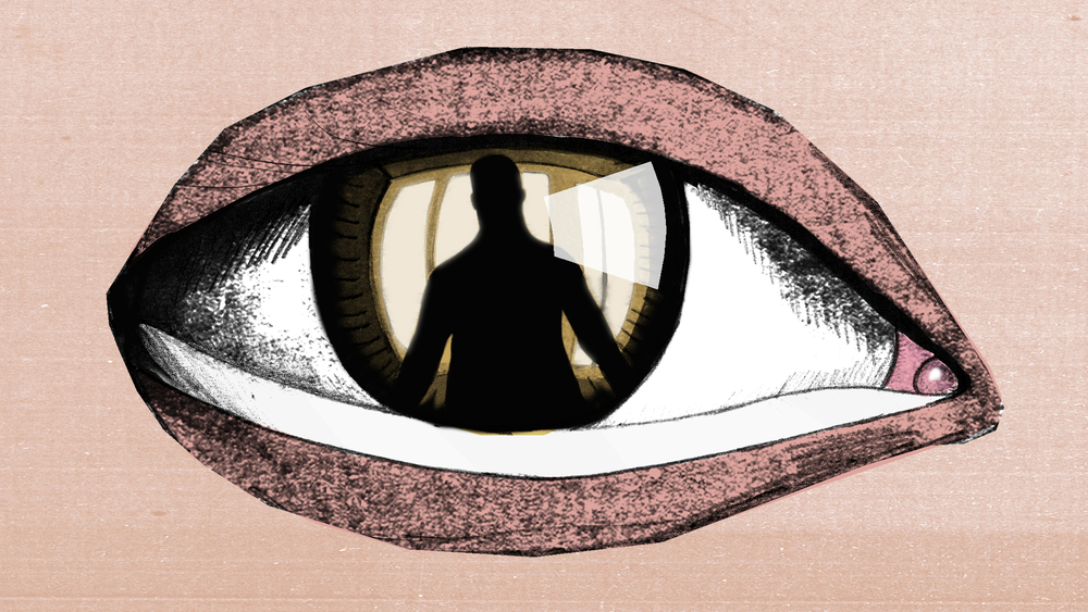 Illustration of an eye with a person in its reflection.