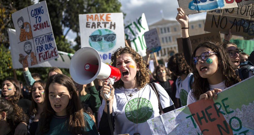 Students take part in a demonstration of the Fridays for Future movement for climate protection in Athens, on November 29, 2019.