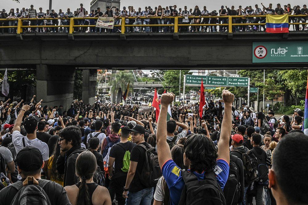 University students protest in Medellin, Colombia, on 24 October 2019. Regional elections will take place on October 27 in Colombia.