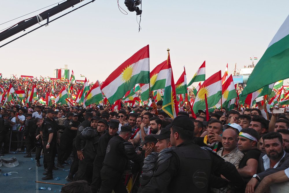 Before the referendum, Kurdish patriotism ran high and thousands attended a pro-independence rally in Erbil in September 2017.