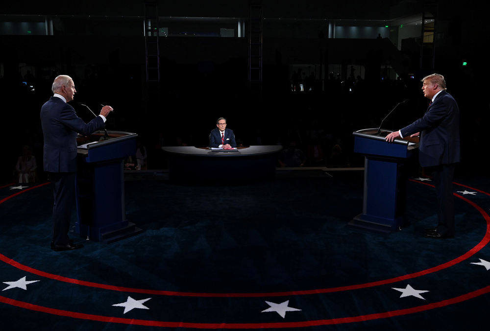 US President Donald Trump and Democratic presidential candidate, former Vice President Joe Biden, participate in the first presidential debate in Cleveland, Ohio, on 29 September 2020.