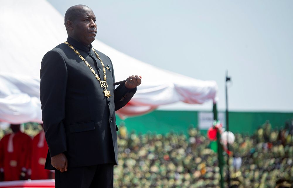 Burundi's President Évariste Ndayishimiye attends his inauguration ceremony on 18 June following the sudden death of long-time ruler Pierre Nkurunziza.