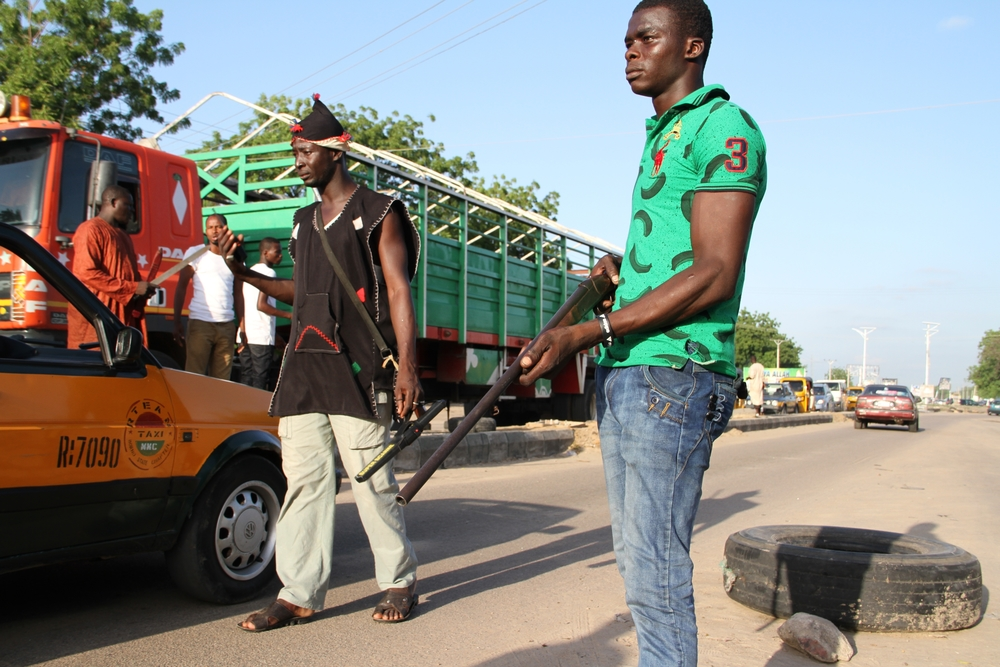 Civilian Joint Task Force road block in Maiduguri