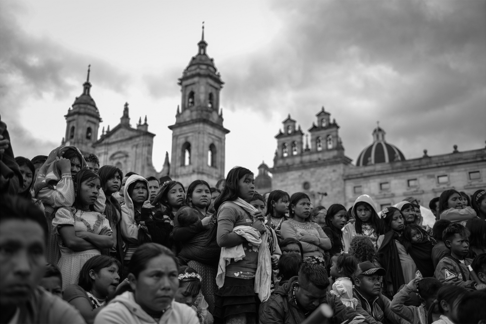 Emberá families gather in a plaza in Colombia's capital, Bogotá.