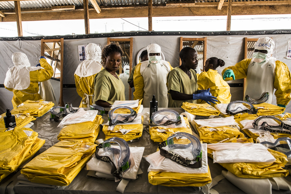 Photo of protective gear and health workers for Ebola in Democratic Republic of Congo.