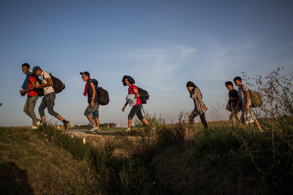 Asylum seekers walking across Croatia