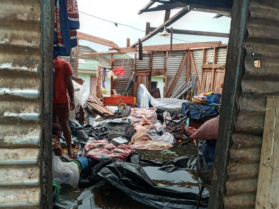 Interior view of a destroyed house in the aftermath of Cyclone Yasa in Nasavu, Bua Province, Fiji on 18 December 2020.