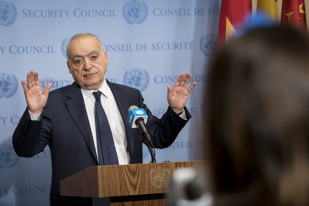 Ghassan Salamé, the UN's envoy for Libya, briefing reporters at a Security Council meeting on 6 January 2020.